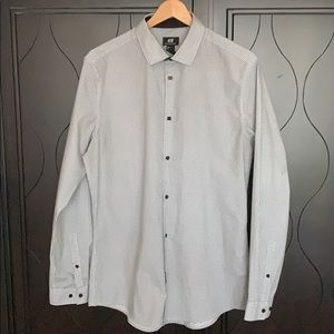 H&M Gray Microcheck Long Sleeve Button-up Shirt